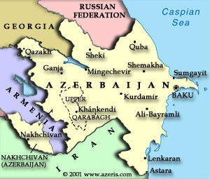 Map of Azerbaijan, showing Armenian-occupied territories and oil pipelines in the region